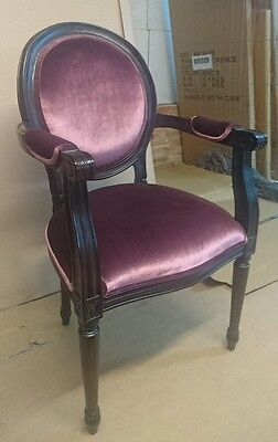 Mahogany Wood Antique Style Occasional  Carver Dining Chair Bedroom Hall Purple