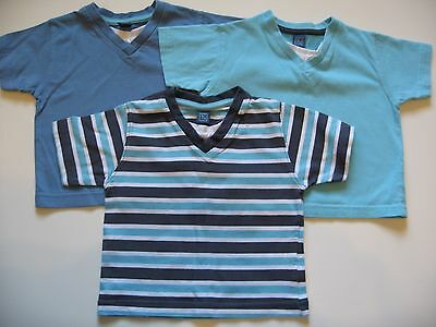 Baby Boys 3 x TU Blue & White V-neck T-Shirts/Tops 9-12mths - Used Ex Cond