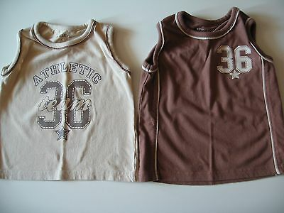 Baby Boys Matalan x 2 Brown and Beige Vest Sleeveless Top  18-24 Used Exc Cond