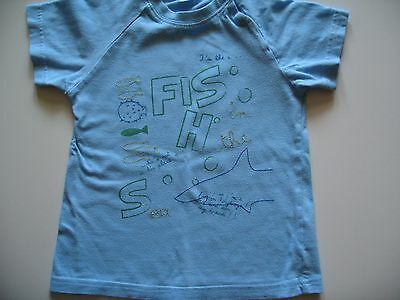 Boys Vertbaudet Blue Fish Short Sleeve T-Shirt 18-24 Used VGC