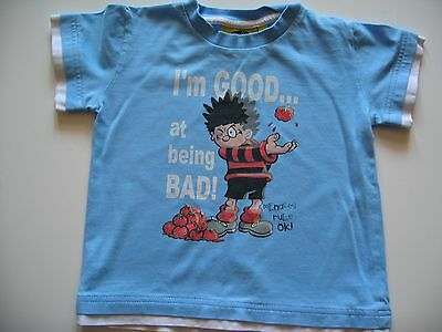 Boys Blue Dennis the Menace Short Sleeve T-Shirt 18-24 Used VGC