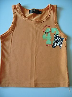 Baby Boys Orange Zebra Vest Sleeveless Top 18-24 Used Exc Cond
