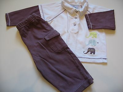 Baby Boys Vertbaudet Long Sleeve Top & Trousers Set 9-12mths - Used Exc Cond