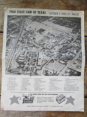 Vintage 1960 State Fair Of Texas Aerial Photo With Building Legend
