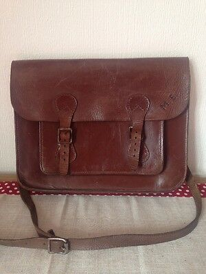Vintage Leather Brown Satchel Bag With M.E. Initials