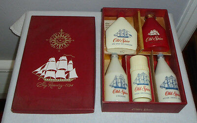 Vintage Old Spice Gift Set Cologne After Shave Deoderant Body Talcum Conditioner