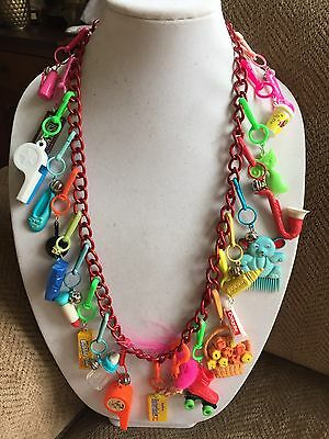 Rare Vintage 80's Plastic Bell Charm Necklace Metal Long Retro Clip In 1980
