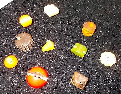 Oddball shaped Lot of 10 vintage Bakelite Buttons  Cool interesting buttons!