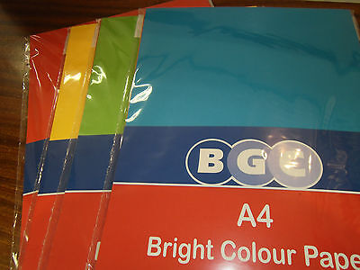 Pack Of A4 Bright Coloured Paper 50 Sheets Per Pack Ideal Craft Or Card Making