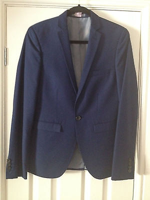 Burtons Menswear Skinny Fit French Navy Blue Two Piece suit 36R Trousers 31
