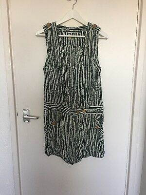 Vintage Green Printed Playsuit Button Detail Fits Uk 10