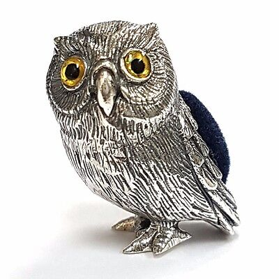 Collectible Victorian Style Quality Owl  Pin Cushion 925 Sterling Silver
