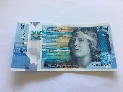 Royal Bank Of Scotland £5 Polymer Note. Zz074628 Very Good Condition