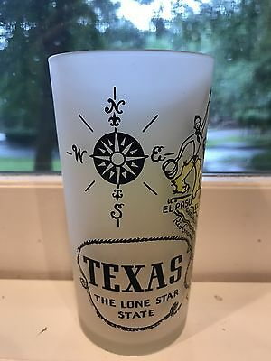 Vintage Retro Frosted Souvenir Glass Texas REDUCED