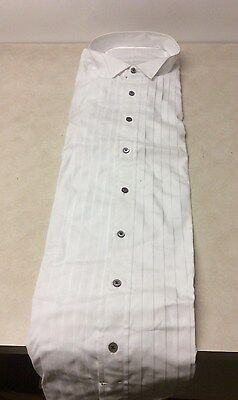 """NWT Men's White Wide Pleated (5/8"""")Tuxedo Shirt - Wing Tip Collar- Size 20-33(3)"""
