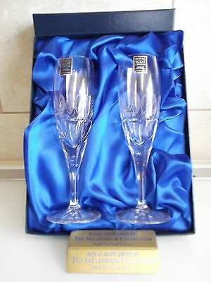 """Royal Scot Crystal """" The Millennium Collection """" Champagne Glasses"""