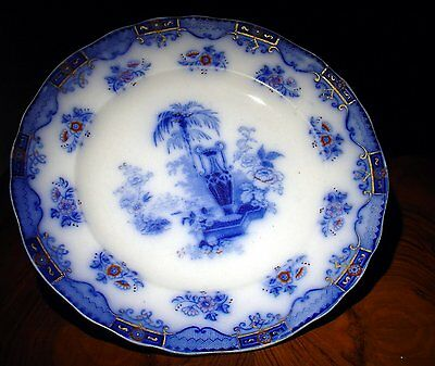 Assiette anglaise Flow Blue faïence Ironstone WOOD & BAGGALEY ARCADIA 1870-80