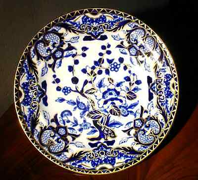 Assiette anglaise Flow Blue faïence Ironstone ROYAL CROWN DERBY 1877-1890
