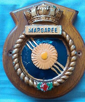 HMCS Margaree Wooden wall plaque shield crest Royal Canadian Navy Destroyer
