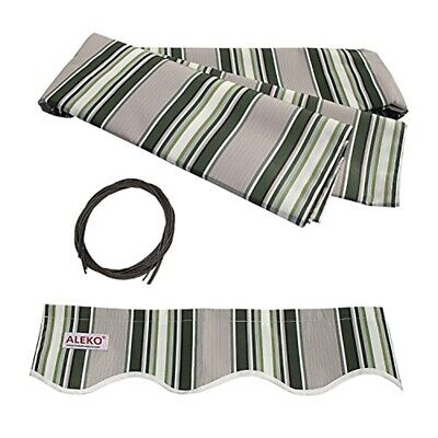 ALEKO Fabric Replacement For 12x10 Ft Retractable Awning Multistripe Green Color