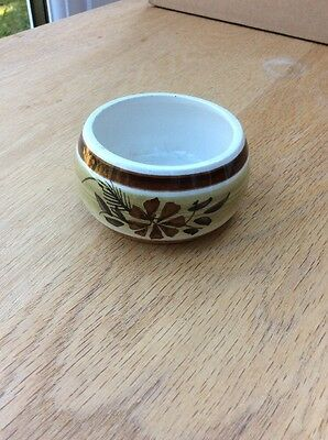 Sweet little vintage hand-painted Toni Raymond Pot Dish browns floral trinkets