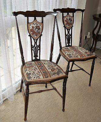 Pair of Antique Victorian Chairs, Delicate Elegant Occasional Chairs