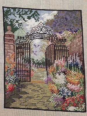 """Gated Gardens - Complete Tapestry - Wool - Needlepoint - (13"""" x 16.5"""")"""