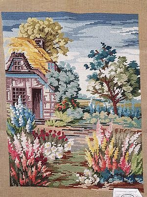 """Thatched Cottage - Complete Tapestry - Wool - Needlepoint - (16"""" x 21"""")"""