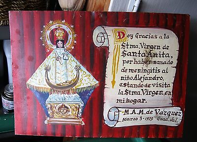 Original Vintage Exvoto/ Retablo On Tin Thanking Our Lady De Santa Anita