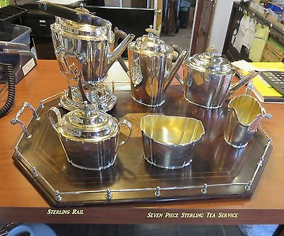 Seven Piece  GORHAM ,STERLING SILVER TEA SERVICE with TRAY