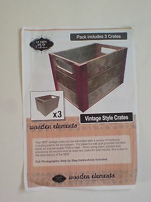 Stamps Away Wooden Elements MDF Vintage Style Crates X3   New