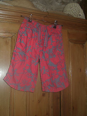 Next Boys Cotton Summer Shorts-Red/grey Patterned Age 7Yrs