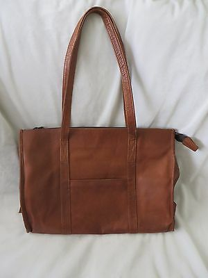 Women's Brown Leather Tote Laptop Carryall Bag
