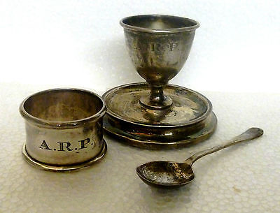 1928 vintage solid silver egg cup napkin ring & spoon 'ARP'