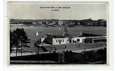 SWIMMING POOL, E-BAY, BANGOR: Co Down Northern Ireland postcard (C28900)