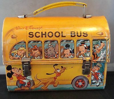 """Vintage 1960s-70s Disneys """"School Bus"""" Dome Top Lunch Box By Aladdin! Very Nice!"""