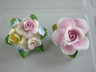 Vintage brooches, 2 china flower brooches, pink rose & multicolored posey