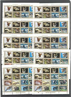 10 sheets Ajman Animals 1973 cancelled