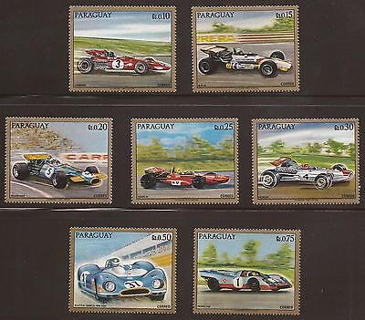 PARAGUAY - Set of 7 Racing Car Stamps - Unmounted Mint