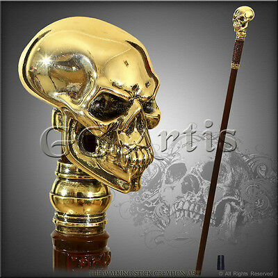 Skull Real 999 Silver Plated Gold Effect Handle Walking Stick Cane Hiking Staff