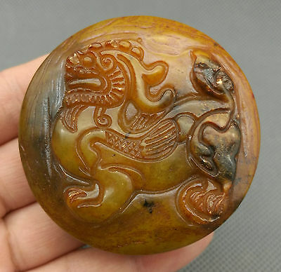 Beautiful Chinese natural jade hand-carved ancient god beast kylin statue signet