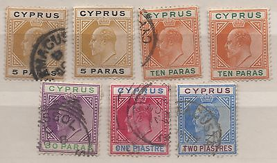 Cyprus K Edward VII seven definitive stamps used