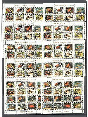 10 sheets Umm Al Qiwain Fishes (2) 1972 cancelled
