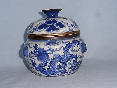 Chinese Blue Dragon pottery bowl