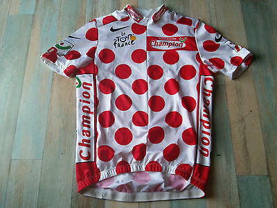 Maillot Cycliste Nike Tour De France Pois Rouges Champion Taille M/3 Tbe
