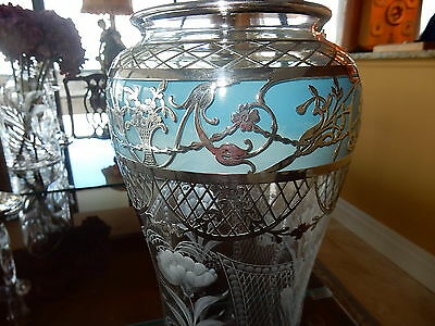 Antique Crystal Vase - Blue with Sterling Silver Overlay