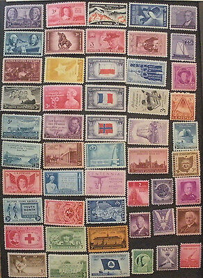 US Postage Stamps Mint OG NH Over 100 Different from 1940s and 1950s (2 Photos)