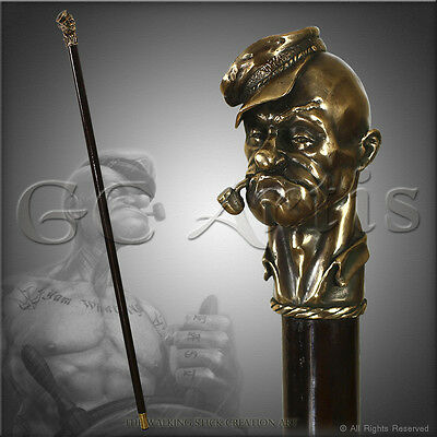 Unique Popeye The Sailor Solid Bronze Shaft Top Walking Stick Cane Staff 36''