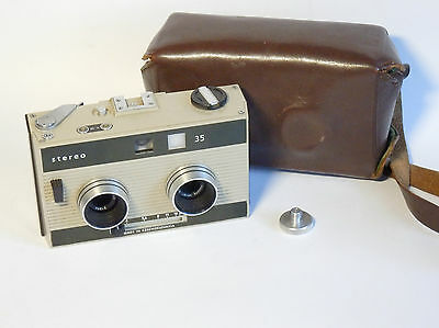 Works! Vintage 70s MEOPTA STEREO 35 camera for 35mm film MIRAR lens with case