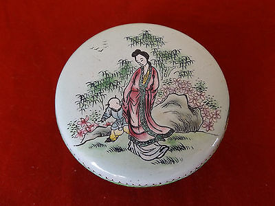 Beautiful Antique Chinese Hand Painted Gilded Enamel On Copper Trinket Box.